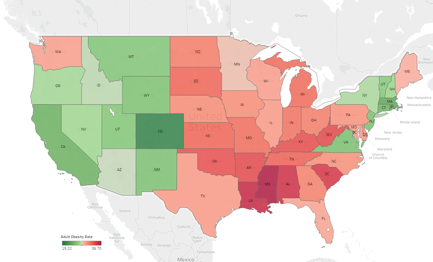 Figure 2: Obesity Rate across USA